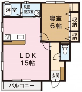 坂井町アパート 1LDK間取り