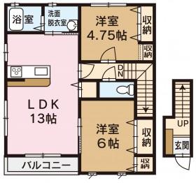 坂井町アパート 2LDK間取り